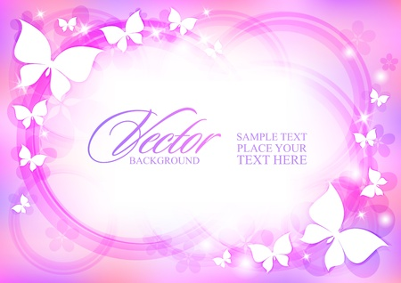 pink butterfly: beautiful abstract background with butterflies and stars