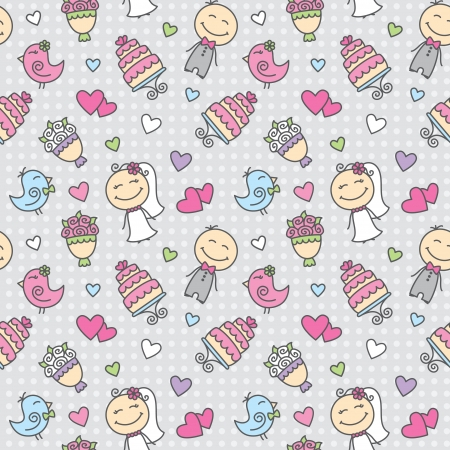 wedding cartoon seamless pattern with groom, bride, cake, bouquet, hearts and birds Vector