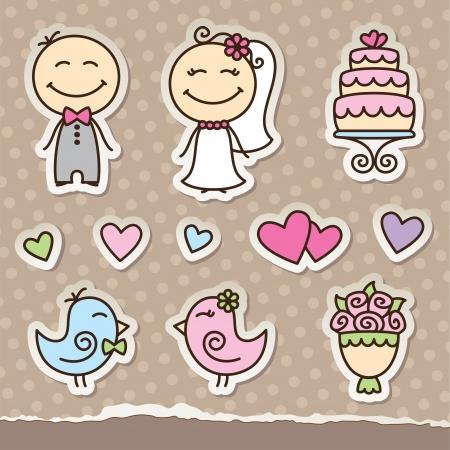 wedding cartoon paper stickers, vector design elements