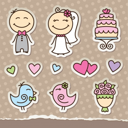 spouses: wedding cartoon paper stickers, vector design elements