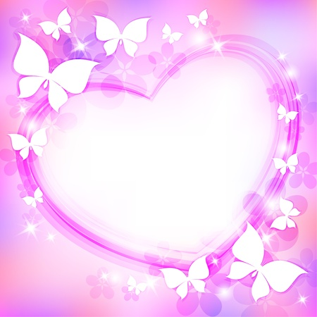 beautiful abstract background with heart, butterflies and stars Vector