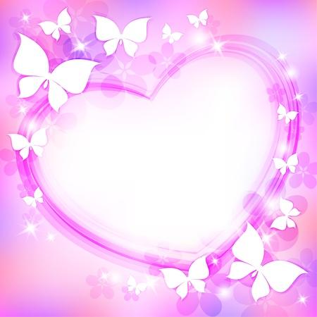 corazon con alas: hermoso fondo abstracto con el coraz�n, mariposas y estrellas