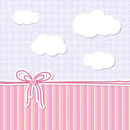 baby background with bow, buttons and clouds Vector