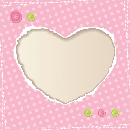 heart of ripped paper and cloth buttons, vintage background Vector
