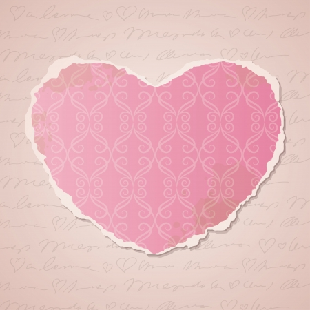 heart of ripped wallpaper, vintage background Vector