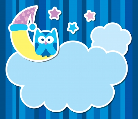 card with cartoon owl, clouds, stars and moon Vector