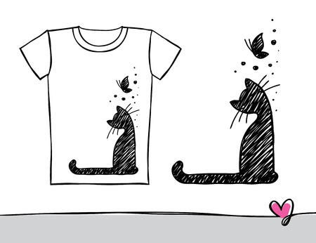 hand drawn t-shirt print with cat and butterfly