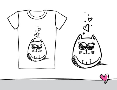 hand drawn t-shirt print with a cat Vector