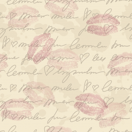 lipstick kiss: seamless pattern with hand writing elements, lips traces and old paper Illustration
