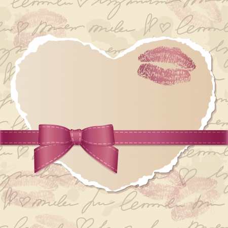 card with heart of torn paper, bow and lips traces Vector