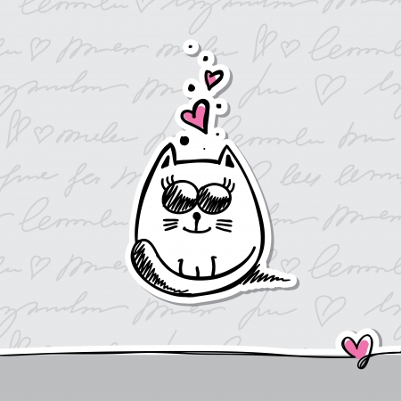 hand drawn card with cat and hearts Vector