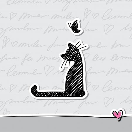 silueta gato: dibujado a mano la tarjeta con el gato y la mariposa Vectores