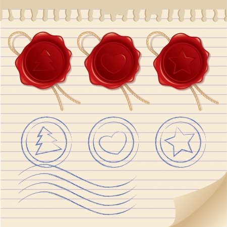 set of postage elements  wax seals, stamps and paper page Vector