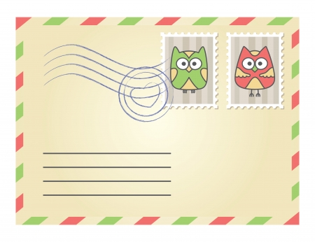 air mail: beige envelope with postage stamps on white background Illustration