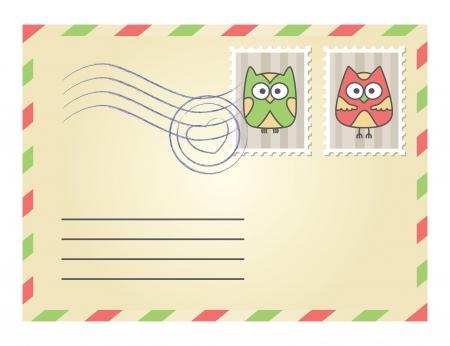 enveloppe ancienne: enveloppe beige avec des timbres-poste sur fond blanc Illustration