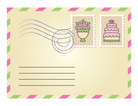 wedding envelope with postage stamps on white background