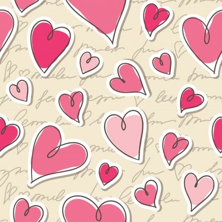 seamless pattern of hearts and hand writing elements Vector