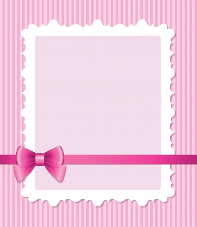 pink satin: frame with glossy bow on pink striped background