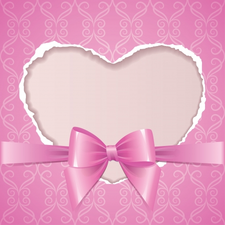 pink frame with torn paper heart and glossy bow Vector