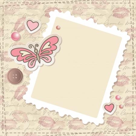 スクラップブッキング: 蝶、ハート、紙フレーム入りビンテージ スクラップブッ キング