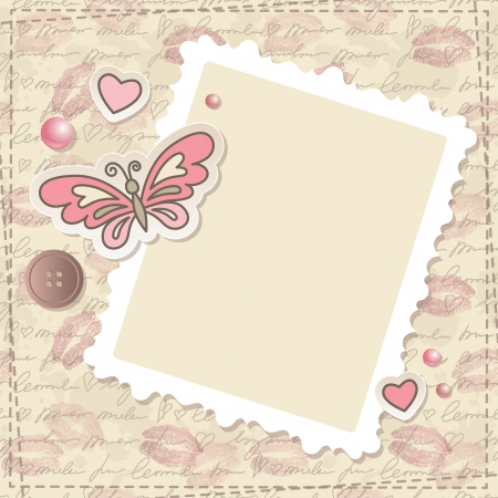 papel scrapbook: scrapbooking vendimia fijado con mariposas, corazones y marco de papel Vectores