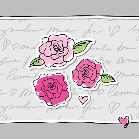 gray: illustration with pink hand drawn roses on paper Illustration