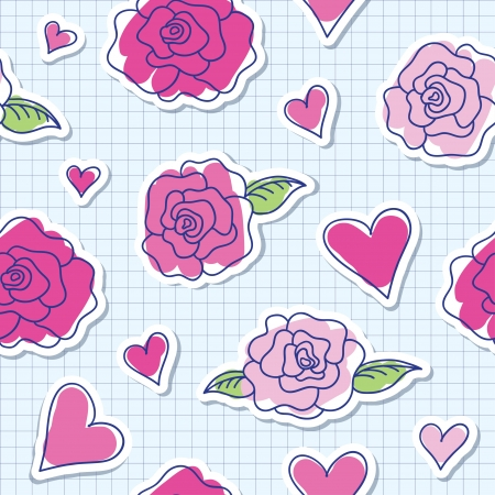 seamless pattern of roses and hearts on paper background Vector