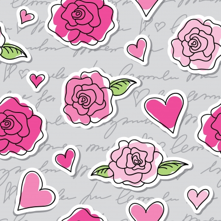 seamless pattern of roses, hearts and hand writing elements
