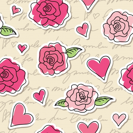 seamless pattern of roses, hearts and hand writing elements Vector