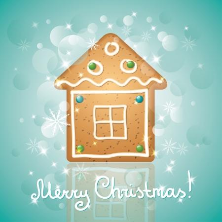 lebkuchen: Weihnachtskarte mit einem Lebkuchen und Sterne, Hausform Illustration