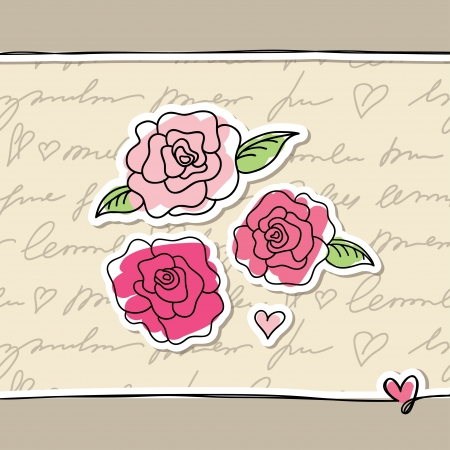 hand drawn flower: illustration with pink hand drawn roses on paper Illustration