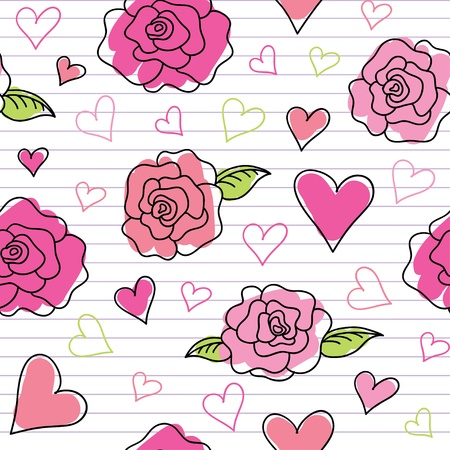 seamless pattern of hand drawn roses and hearts Vector