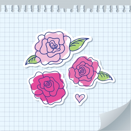illustration with pink hand drawn roses on paper Vector