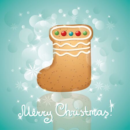 christmas card with a gingerbread and stars, boot shape