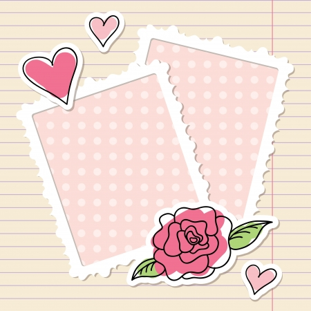 album background: photo frames, rose and hearts of paper