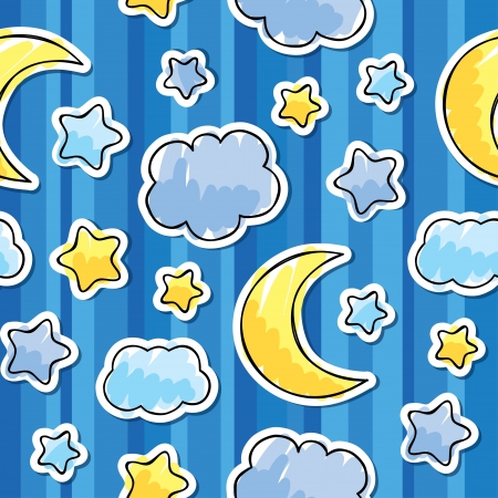 pattern with night sky, hand drawn  illustration Vector