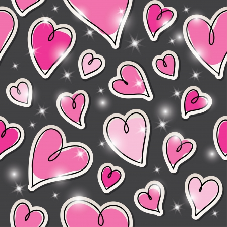 shiny hearts: dark seamless pattern of hearts and stars