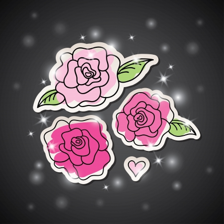 illustration with pink hand drawn roses on dark background Vector