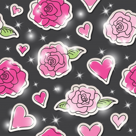 seamless pattern of roses, hearts and stars on dark background Vector