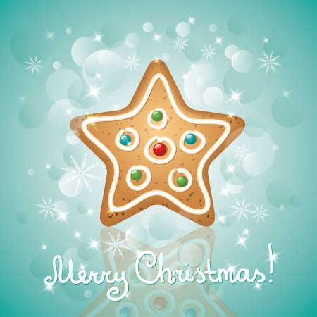 christmas card with a gingerbread and stars, star shape Vector