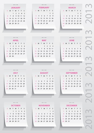 calendar grid of 2013 year on realistic paper stickers Vector