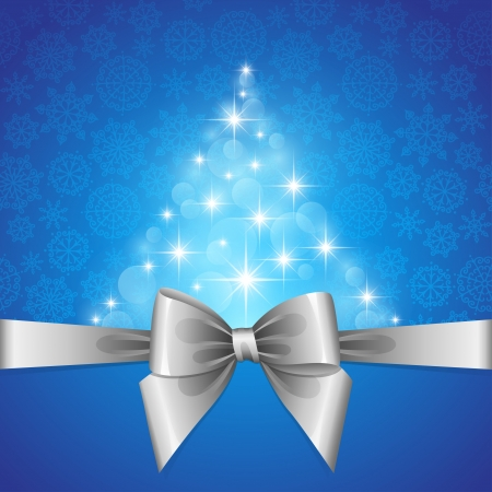 christmas card with silver bow and fir shape of stars Stock Vector - 15084782