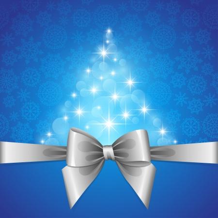 tarjeta de Navidad con arco de plata y la forma de abeto estrellas