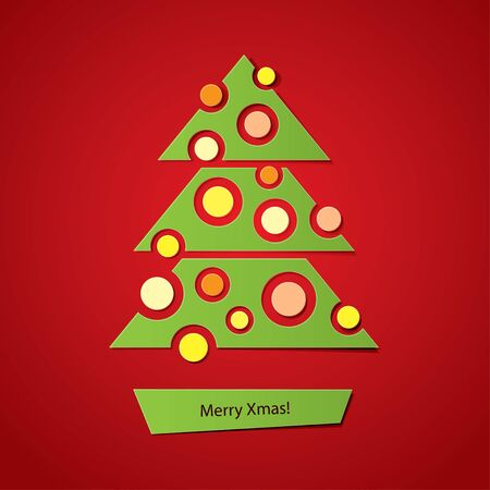 christmas tree with balls on red background Vector