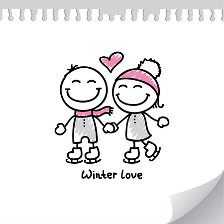 skaters couple on paper page, hand drawn illustration