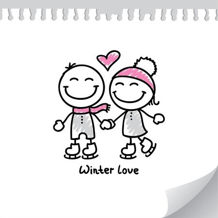 liefde: schaatsers paar op papier pagina, met de hand getrokken illustratie