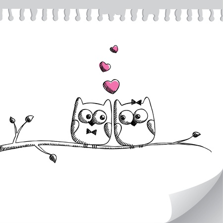 bird on branch: card with hand drawn owls on paper page Illustration