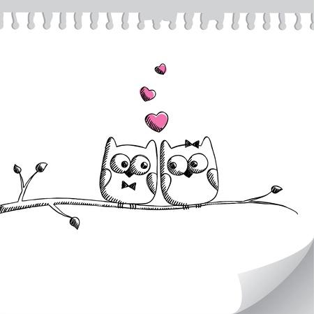 two stroke: tarjeta con la mano lechuzas dibujadas en la p�gina de papel Vectores