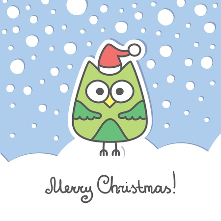 christmas card with green cartoon owl and snow Vector