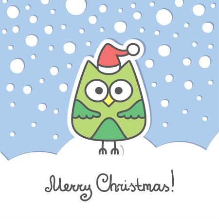 christmas card with green cartoon owl and snow Stock Vector - 16446659